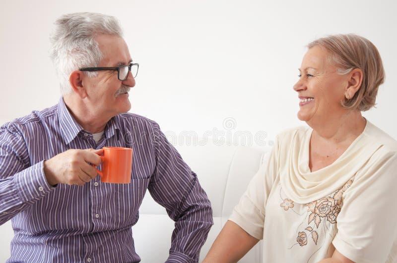 资深夫妇饮用的茶和愉快聊天 库存图片