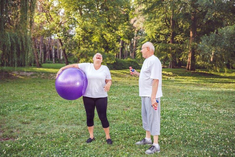 资深愉快的资深妇女的心脏锻炼有健身球的在公园 免版税库存照片