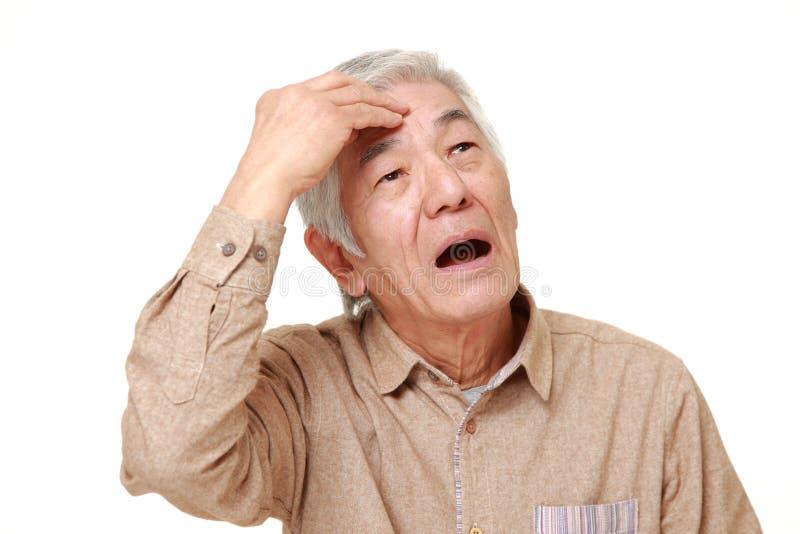 资深日本人丢失了她的记忆 免版税库存图片