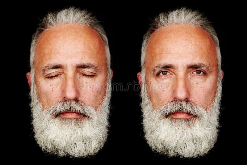 资深有胡子的人的两张面孔 免版税图库摄影