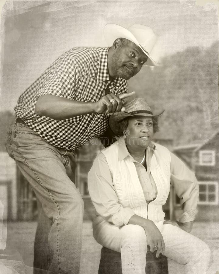 资深牛仔夫妇 免版税图库摄影