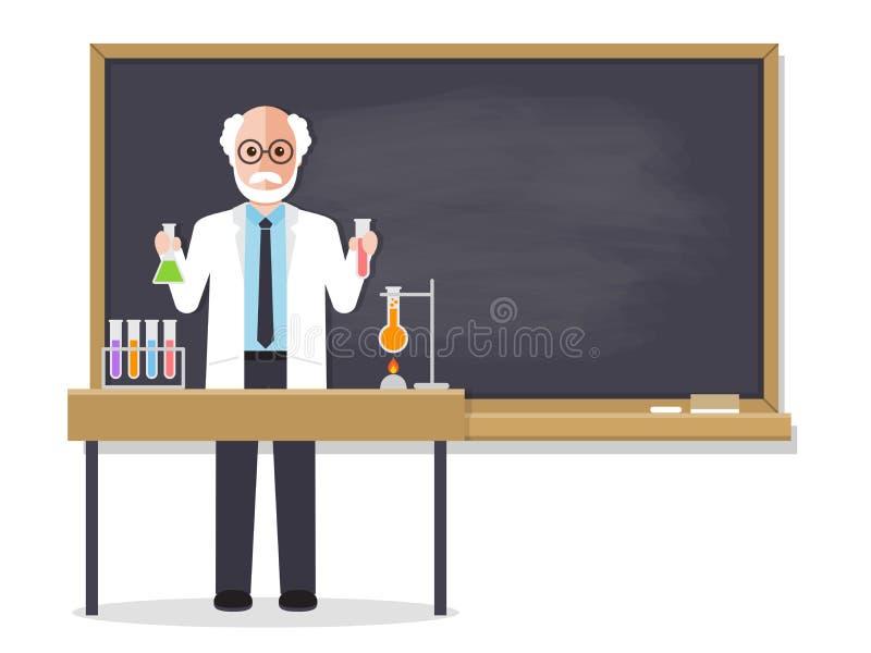 资深理科教员教的学生在教室 库存例证