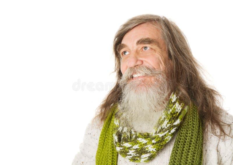 资深老人愉快微笑。长的头发,髭,胡子 免版税库存图片