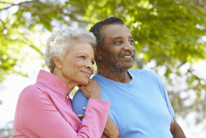 资深非裔美国人的夫妇佩带的连续衣物画象在公园 免版税库存照片