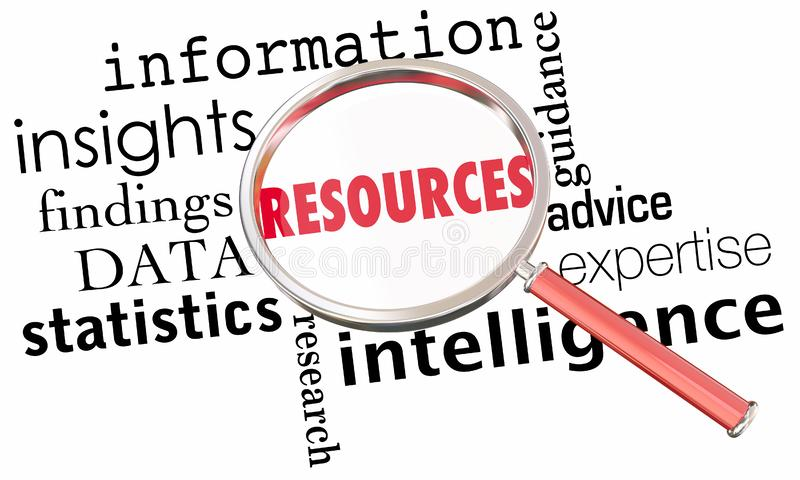 资源信息数据洞察事实放大镜词 皇族释放例证