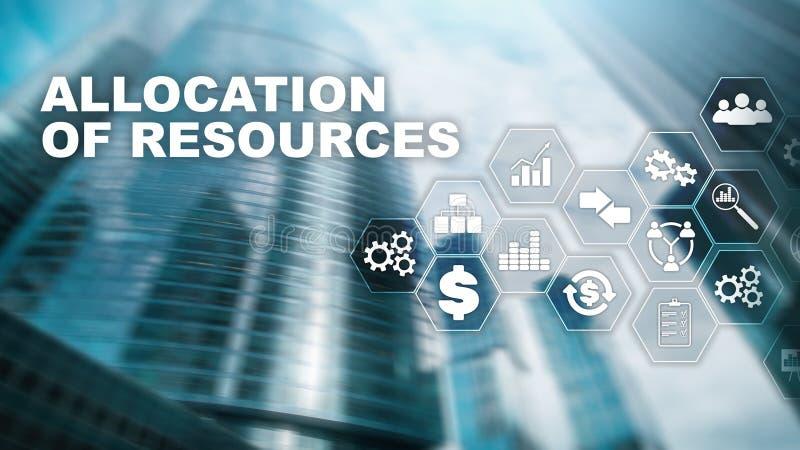 资源分配概念 战略计划 混合画法 抽象企业背景 财政技术和 库存图片