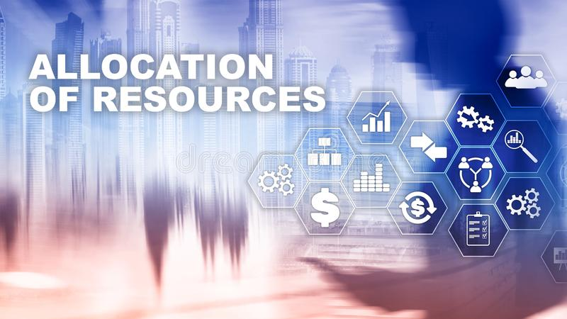 资源分配概念 战略计划 混合画法 抽象背景商业 财政技术和 图库摄影