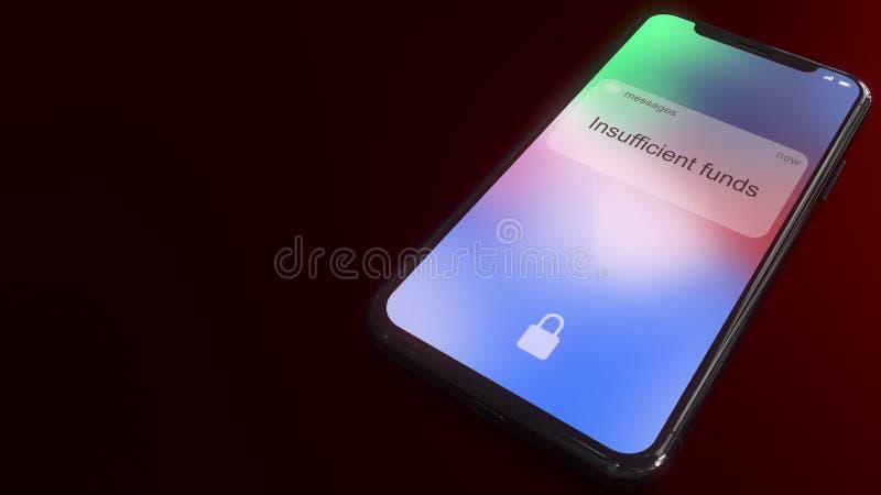 资金不足在一个现代智能手机的屏幕上突然出现 3d概念性翻译 皇族释放例证