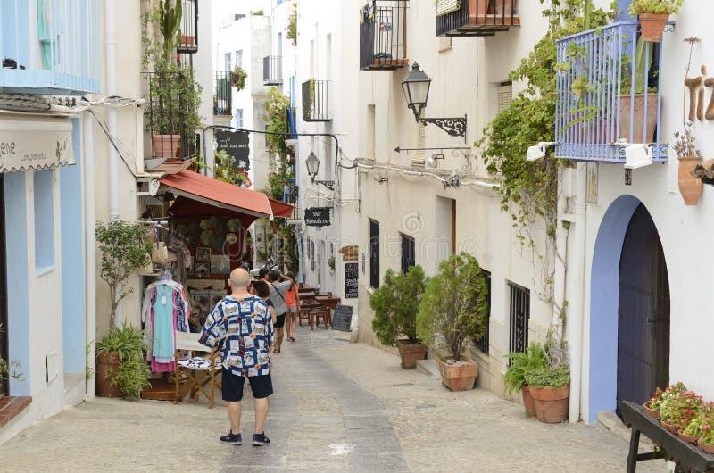 赋予生命的街道在佩尼伊斯科拉 图库摄影