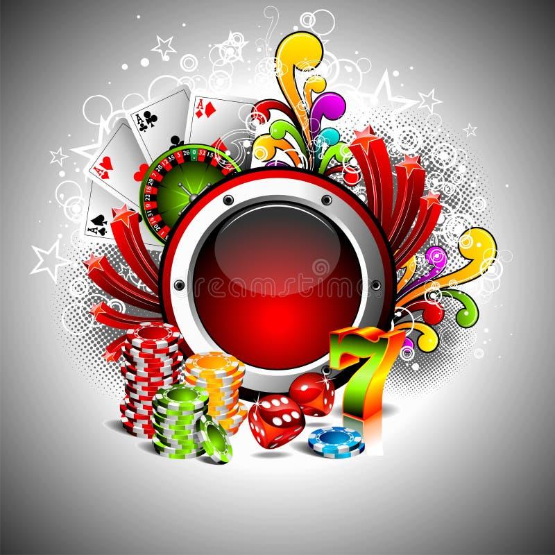 赌博例证的娱乐场要素 库存例证
