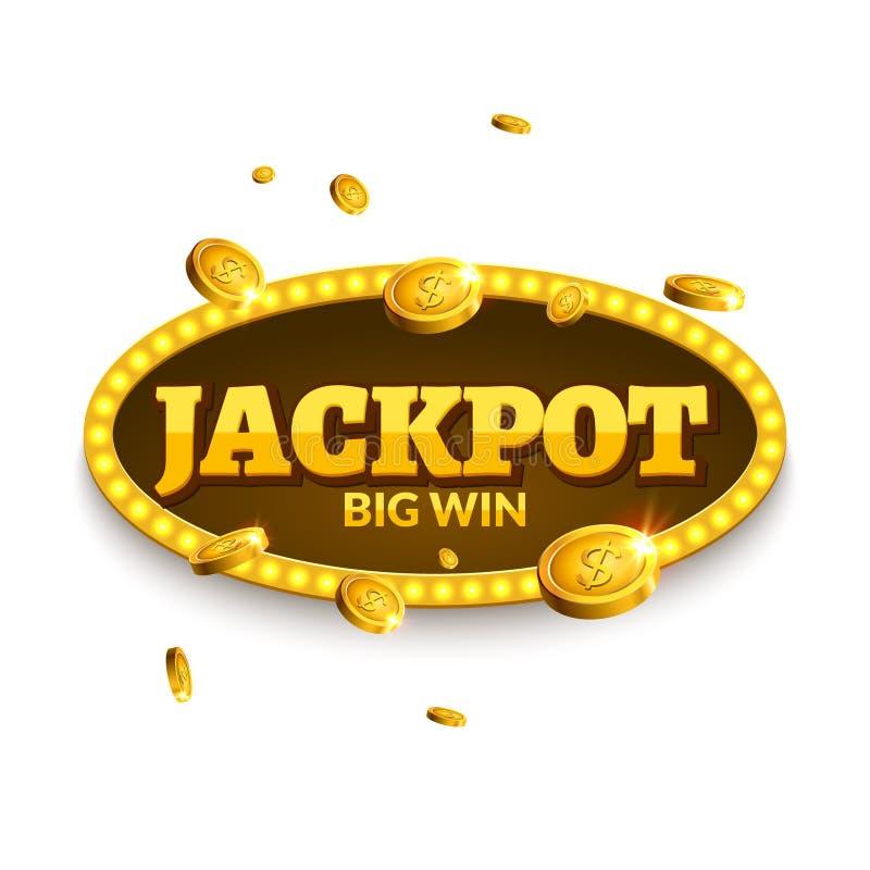 赌博减速火箭的横幅装饰的困境 企业困境装饰 与硬币金钱的优胜者标志幸运的标志模板 皇族释放例证