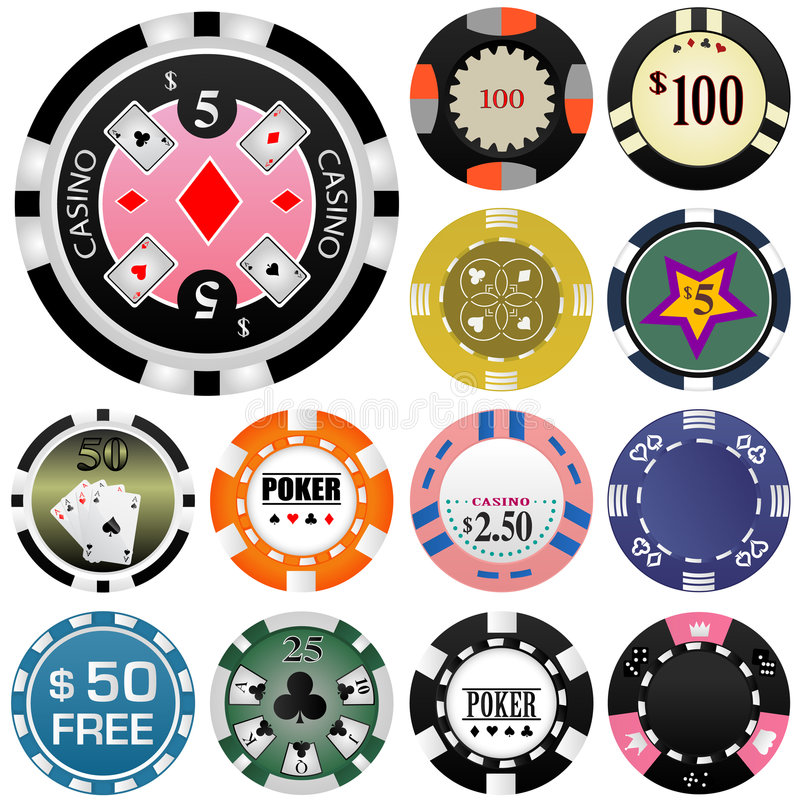 赌博向量的2个筹码 向量例证