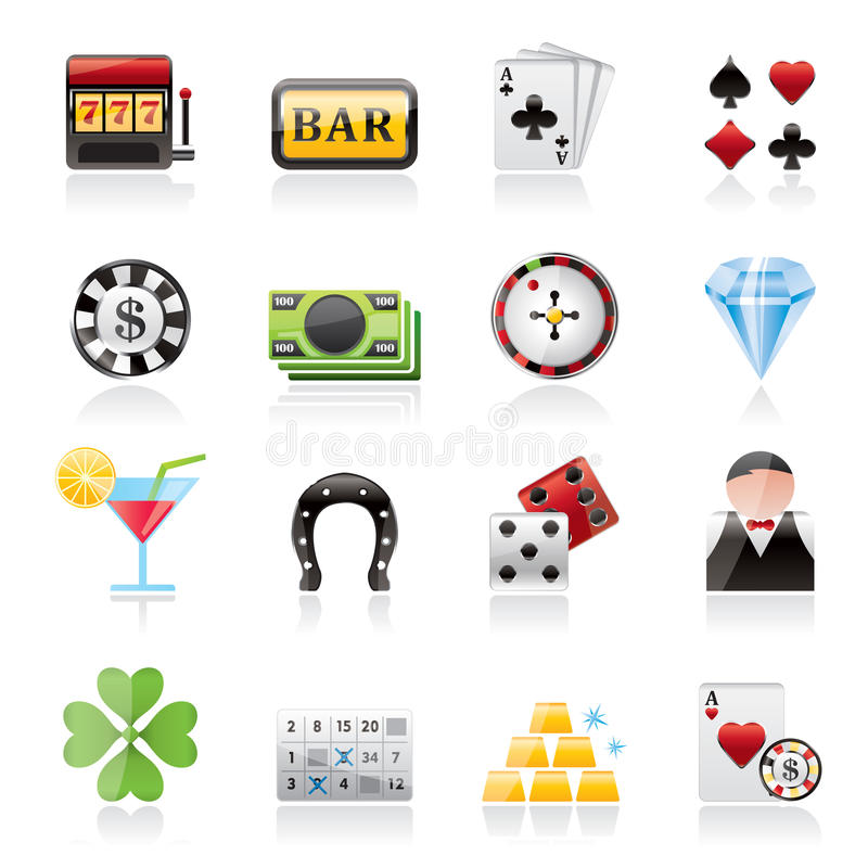 赌博和赌博娱乐场象 向量例证