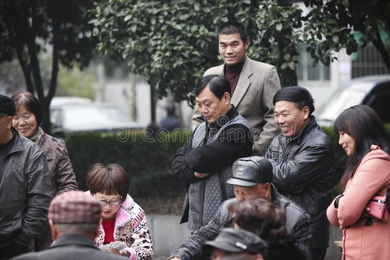 赌博在杭州,中国的中国人民 免版税库存照片