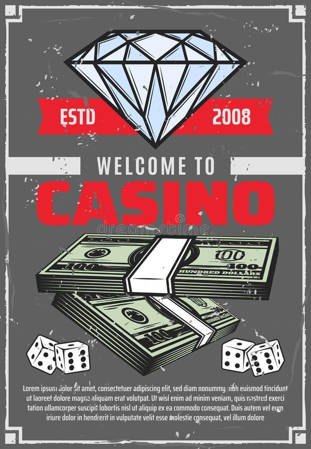 赌博娱乐场、金刚石和金钱,传染媒介海报 向量例证