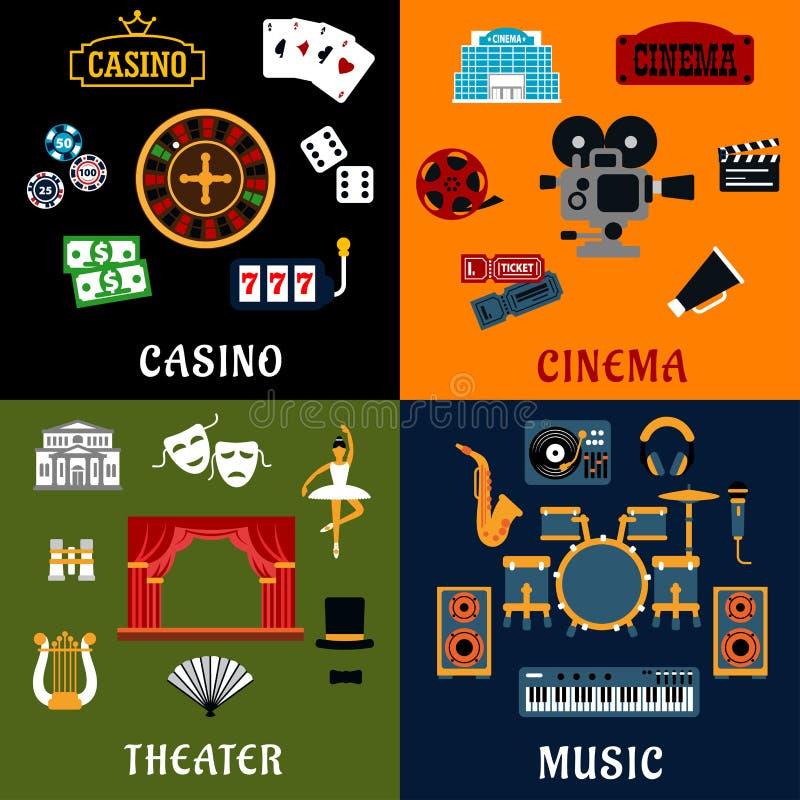 赌博娱乐场、音乐、戏院和剧院象 皇族释放例证