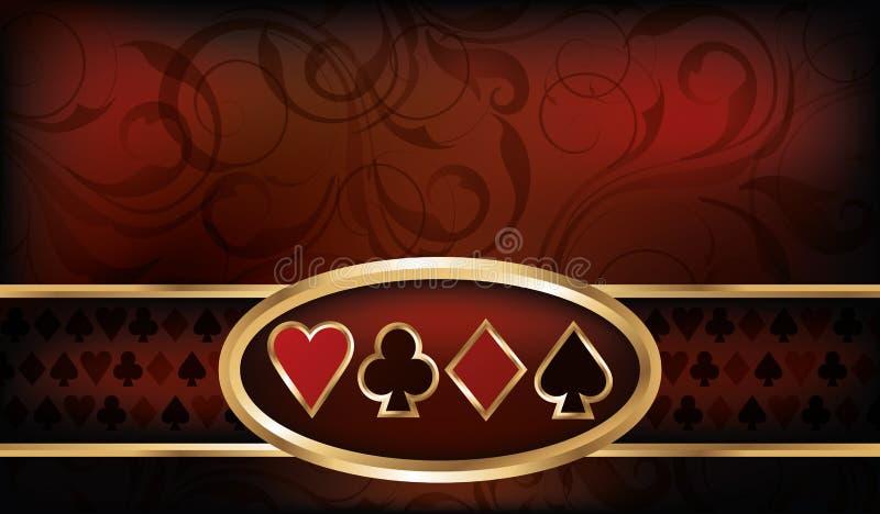 赌博娱乐场与啤牌元素的名片 库存例证
