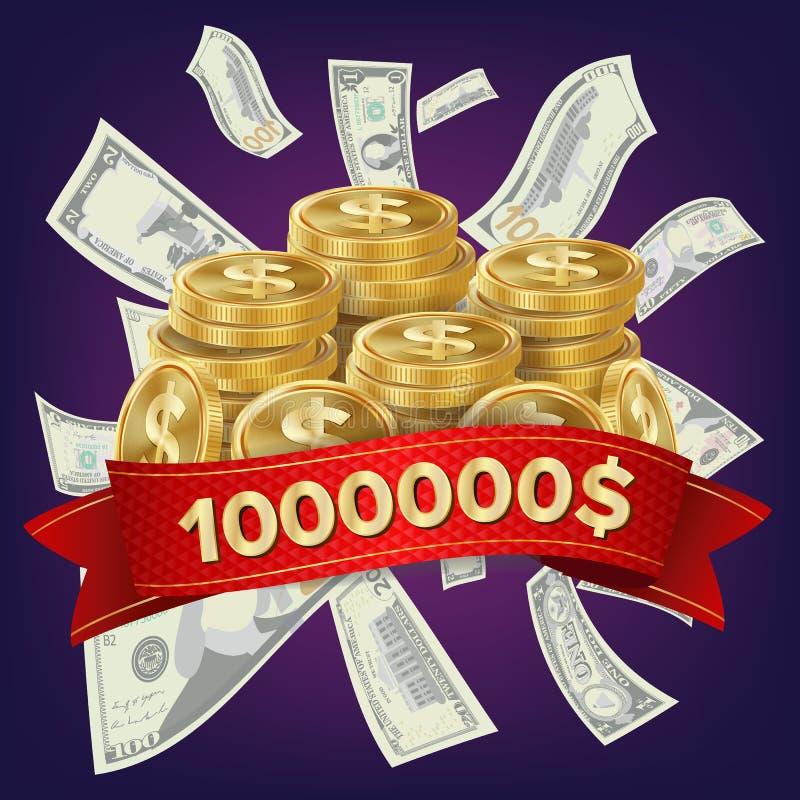 赌博娱乐场优胜者传染媒介背景 硬币和美元金钱 困境得奖的设计 优胜者概念例证 库存例证