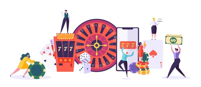 赌博娱乐场和赌博的概念 打在时运比赛的人字符  男人和妇女戏剧啤牌,轮盘赌,槽孔 向量例证
