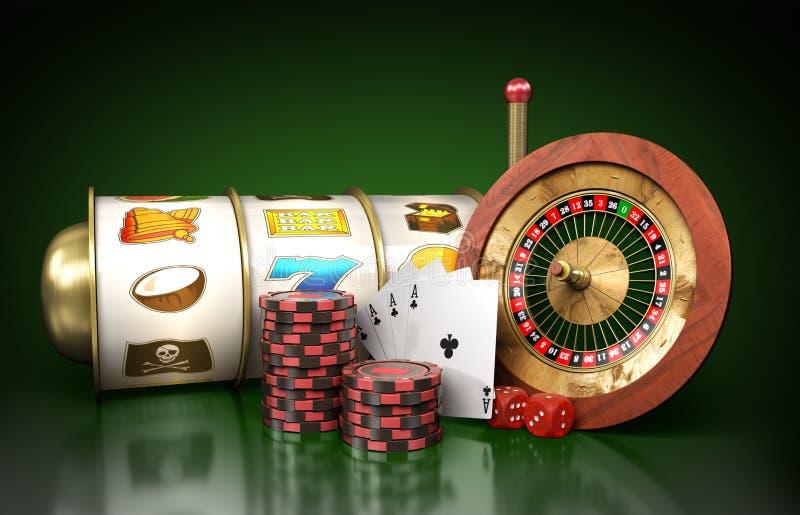 赌博娱乐场商标轮盘赌的现代概念由戏剧围拢 库存例证
