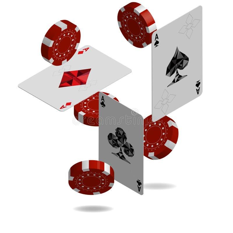 赌博娱乐场啤牌设计模板 落的啤牌卡片和芯片比赛 皇族释放例证