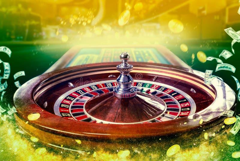 赌博娱乐场图象拼贴画与多彩多姿的赌博娱乐场轮盘赌桌的特写镜头充满活力的图象的与纸牌筹码的 图库摄影
