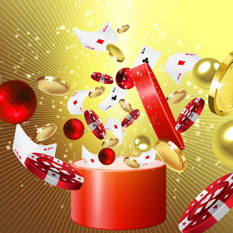 赌博娱乐场圣诞节礼物 库存例证