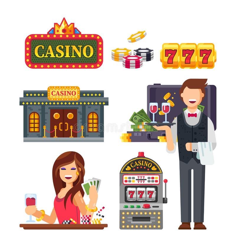 赌博娱乐场在拉斯维加斯,老虎机,赌博,啤牌,轮盘赌 库存例证