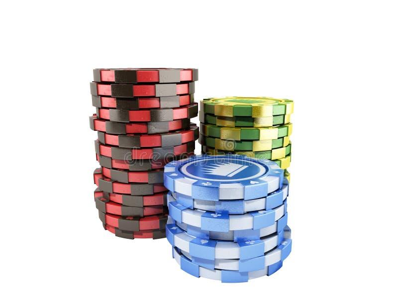 赌博娱乐场在白色现实3d隔绝的颜色芯片回报对象 皇族释放例证