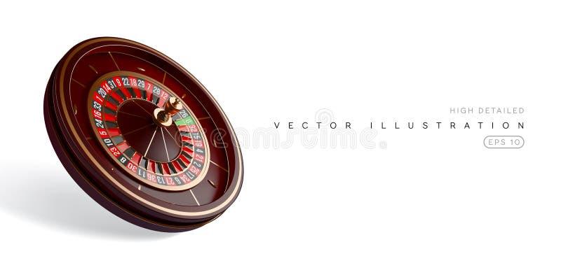 赌博娱乐场在白色背景隔绝的轮盘赌的赌轮 3D现实传染媒介例证 网上啤牌赌博娱乐场轮盘赌 皇族释放例证