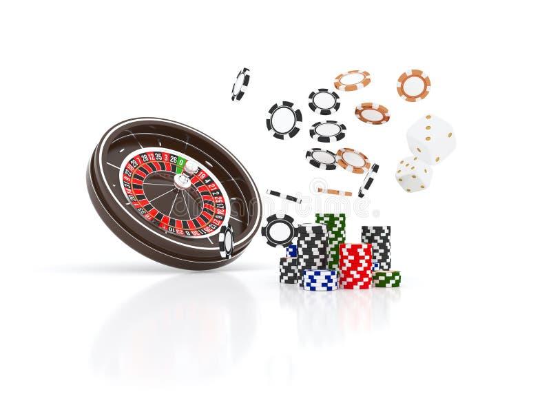 赌博娱乐场在白色隔绝的轮盘赌的赌轮芯片 赌博娱乐场比赛3D芯片 网上赌博娱乐场横幅 黑现实芯片 库存例证