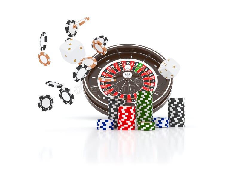 赌博娱乐场在白色隔绝的轮盘赌的赌轮芯片 赌博娱乐场比赛3D芯片 网上赌博娱乐场横幅 黑现实芯片 向量例证