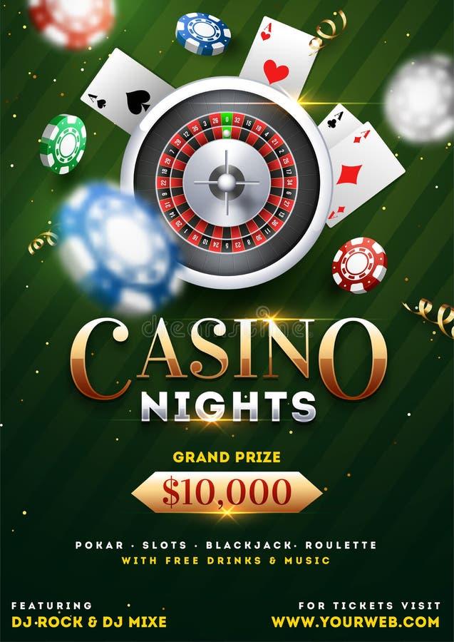 赌博娱乐场夜党与现实轮盘赌的赌轮、纸牌和赌博娱乐场芯片的模板设计 库存例证