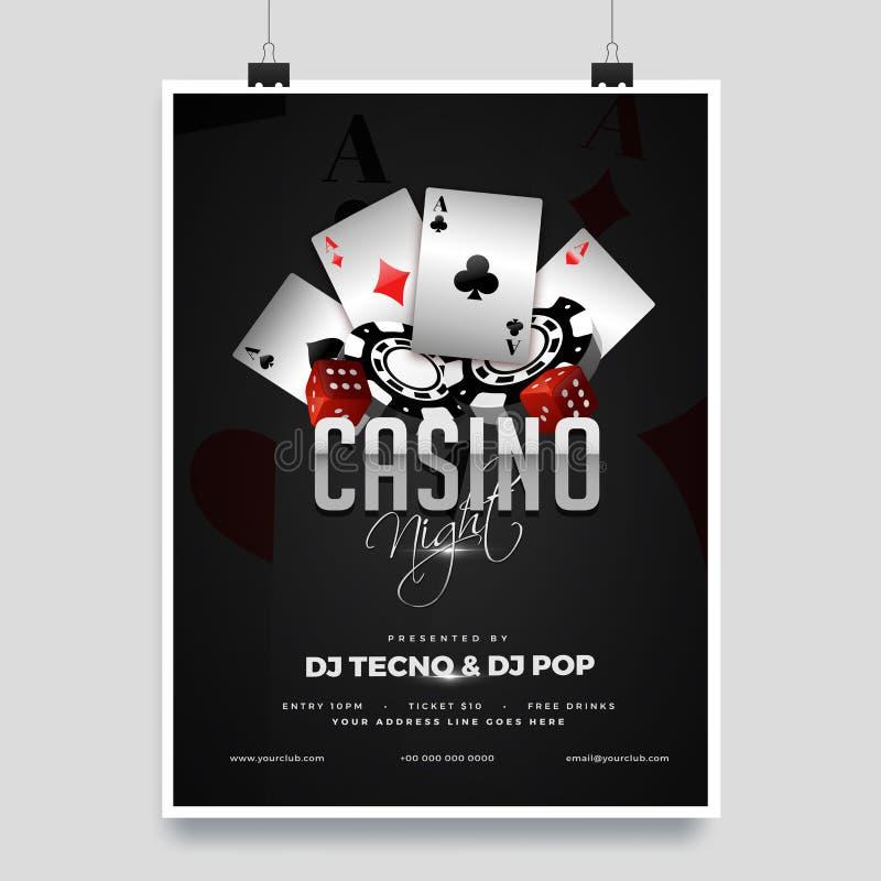 赌博娱乐场夜党与赌博娱乐场元素的模板设计在发光的黑背景 库存例证