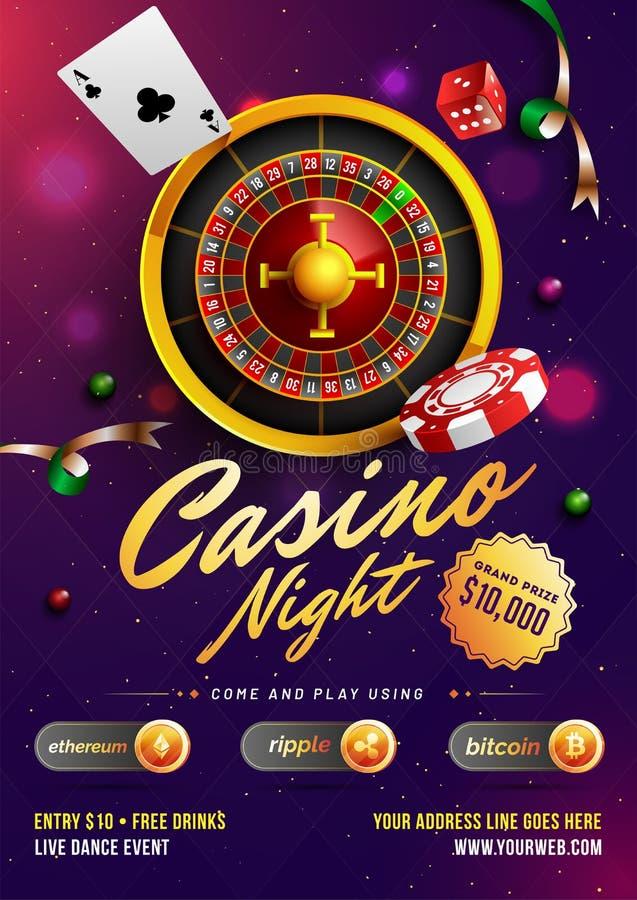 赌博娱乐场夜模板或飞行物设计与现实轮盘赌的赌轮和赌博娱乐场元素 皇族释放例证
