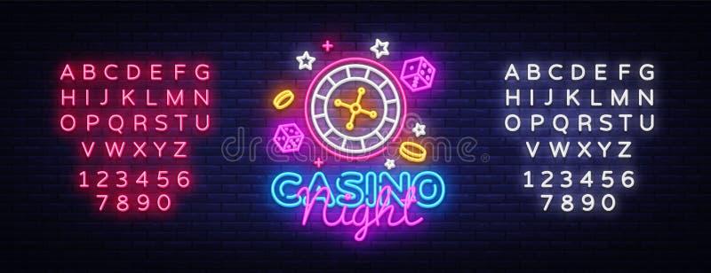 赌博娱乐场夜霓虹商标传染媒介 赌博娱乐场霓虹灯广告,设计模板,现代趋向设计,赌博娱乐场霓虹牌,夜 皇族释放例证