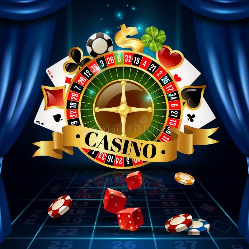 赌博娱乐场夜间赛标志构成海报
