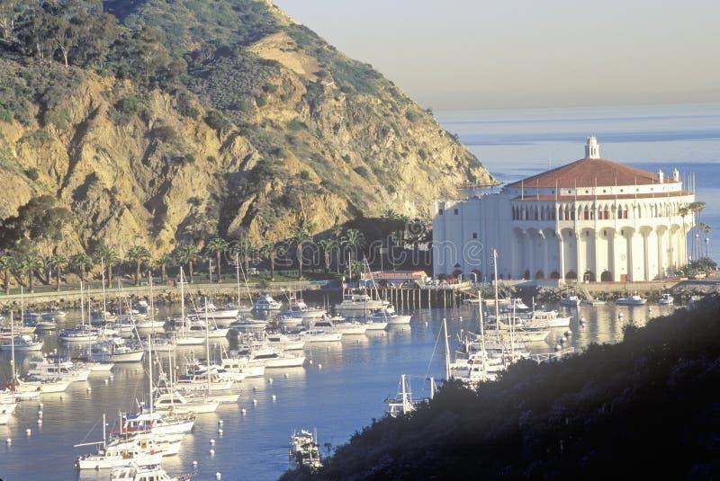 赌博娱乐场大厦和Avalon怀有, Avalon,卡塔利娜海岛,加利福尼亚 图库摄影