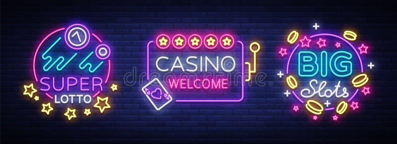 赌博娱乐场套在霓虹样式的商标 构思设计餐馆模板 霓虹灯广告汇集,轻的横幅,广告牌,明亮的光 皇族释放例证