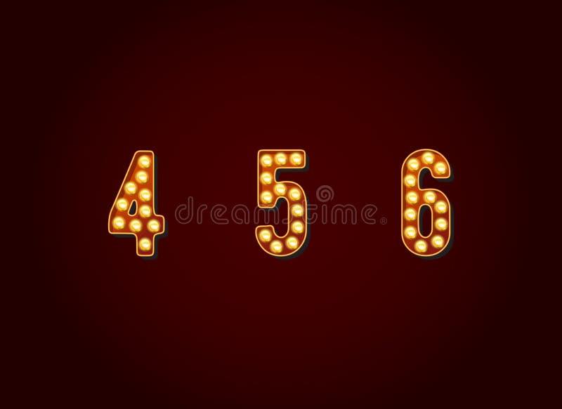 赌博娱乐场或百老汇标志样式电灯泡数字数字字符在传染媒介集合