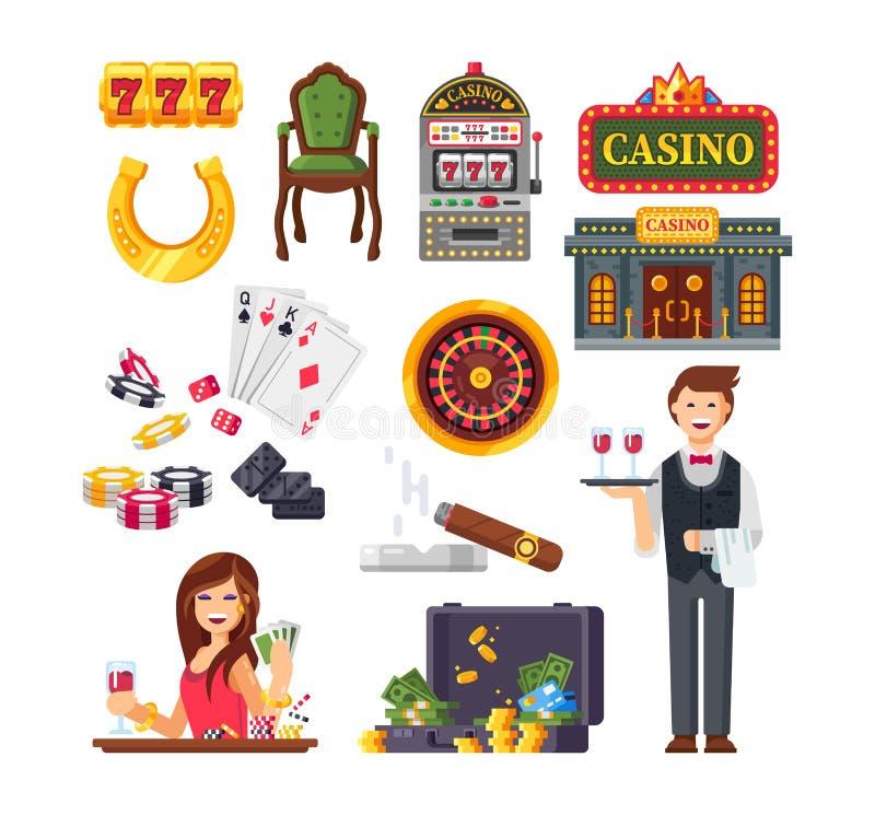 赌博娱乐场拉斯维加斯 键入金钱:卡片,硬币,票据,轮盘赌 库存例证