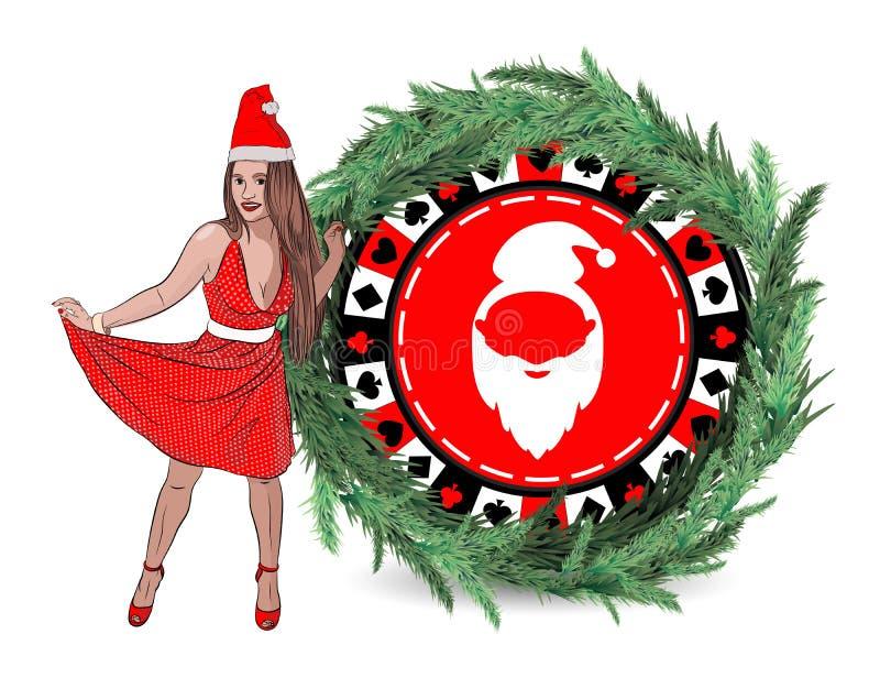 赌博娱乐场新年胜利 克劳斯・圣诞老人妇女 库存图片