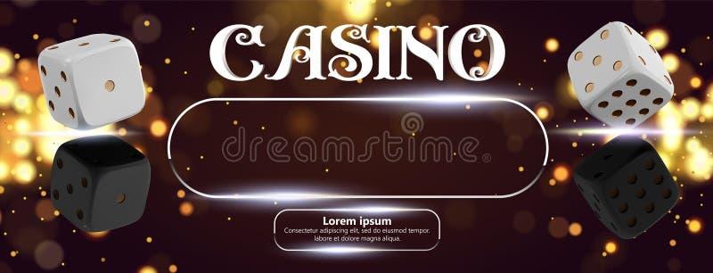 赌博娱乐场标志在金黄发光的背景的啤牌模子顶视图  网上与地方的赌博娱乐场宽横幅文本和按钮的 库存例证