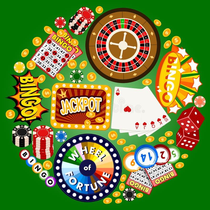 赌博娱乐场概念圆的样式传染媒介例证 包括轮盘赌,赌博娱乐场芯片,纸牌,赢得困境金钱 皇族释放例证