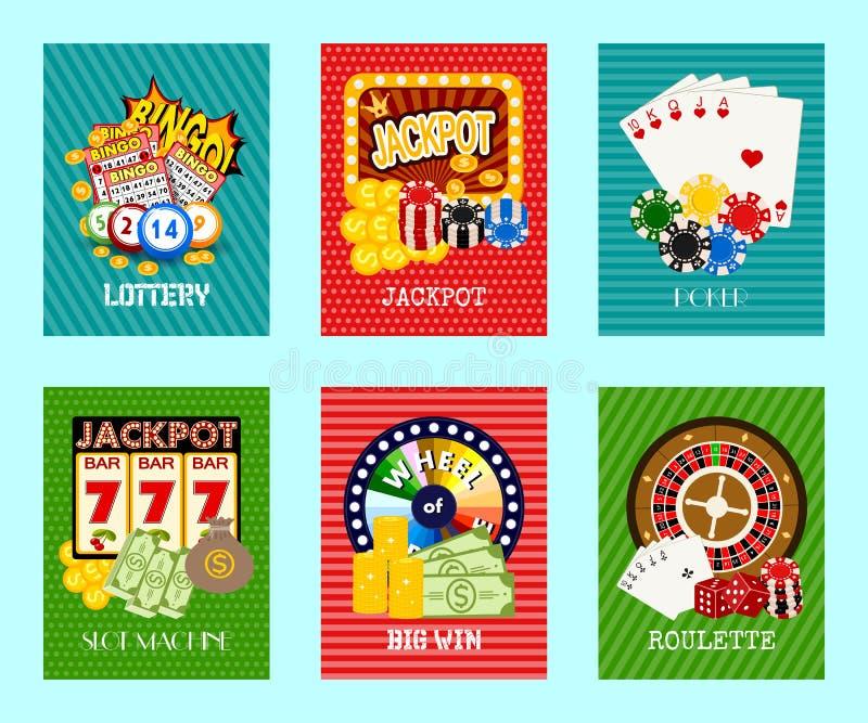 赌博娱乐场概念套卡片传染媒介例证 包括轮盘赌,赌博娱乐场芯片,纸牌,赢得困境 ?? 向量例证