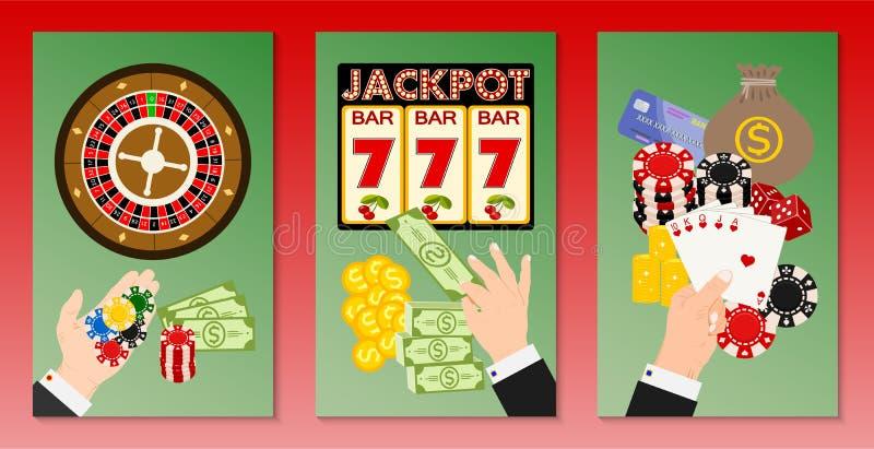 赌博娱乐场概念套横幅传染媒介例证 包括轮盘赌,赌博娱乐场芯片,纸牌,拿着现金的人 库存例证