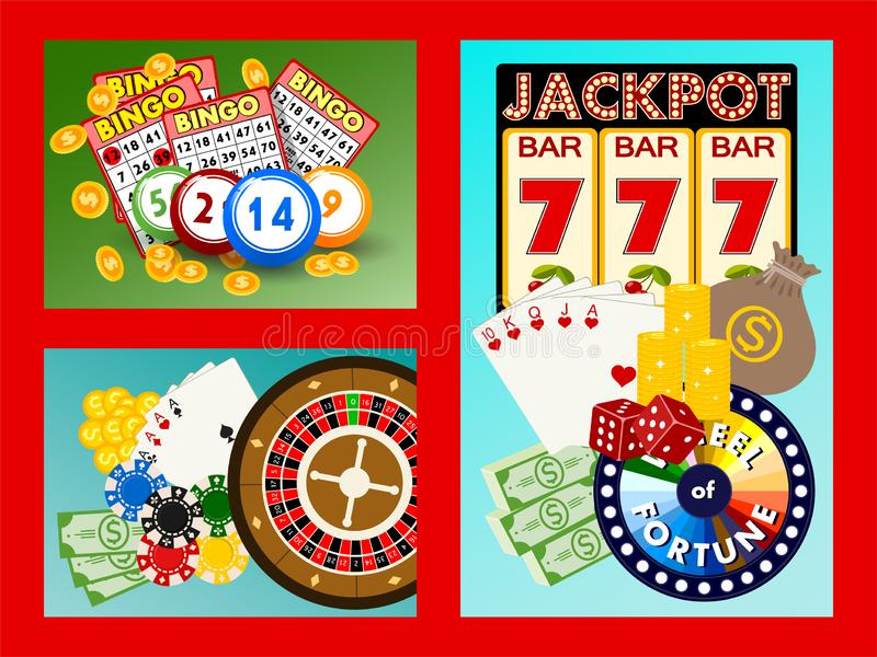 赌博娱乐场概念横幅,卡片导航例证 包括轮盘赌,赌博娱乐场芯片,纸牌,赢得困境 ?? 库存例证