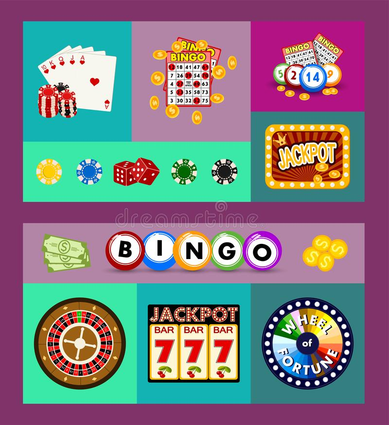 赌博娱乐场概念横幅,卡片导航例证 包括轮盘赌,赌博娱乐场芯片,纸牌,赢得困境 ?? 向量例证