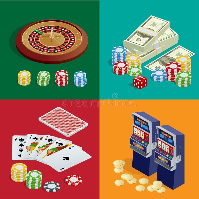 赌博娱乐场概念 与卡片、芯片、胡扯和轮盘赌的赌博娱乐场背景 平的3d传染媒介等量例证 向量例证