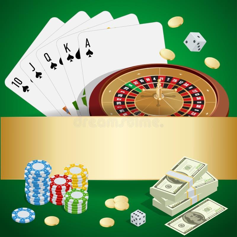 赌博娱乐场概念 与卡片、芯片、胡扯和轮盘赌的赌博娱乐场背景 平的3d传染媒介等量例证 皇族释放例证